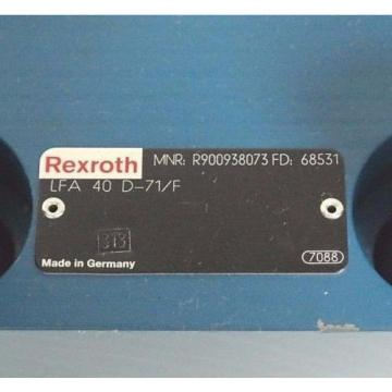 NEW India Egypt REXROTH R900938073 CARTRIDGE VALVE LFA 40 D-71/F FD: 68531 W/ BOLTS