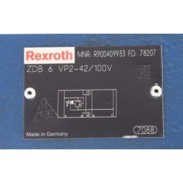 NEW Canada India BOSCH REXROTH ZDB-6-VP2-42/100V PRESSURE RELIEF VALVE R900409933