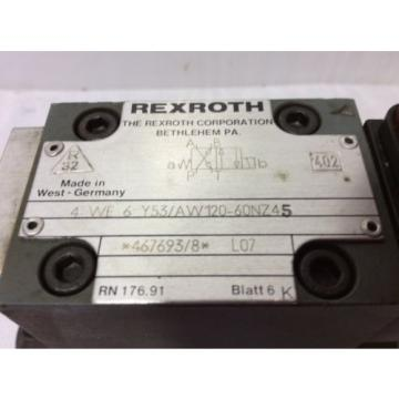 REXROTH Germany Germany HYDRAULIC VALVE 4WE6Y53/AW12060NZ45 WITH Z4WEH10E63-40/6A120-60NTZ45