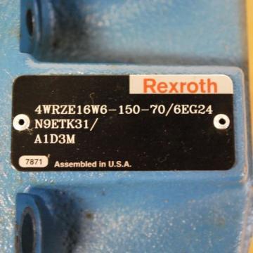 Rexroth Canada Mexico 4WRZE16W6-150-70 Main Valve. 4WRZE16W6-150-70/6EG24N9ETK31/A1D3M. - USED
