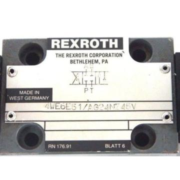REXROTH France Canada 4WE6E51/AG24NZ45V CONTROL VALVE W/ GU35-4-A-310 COILS & GDM CONNECTORS
