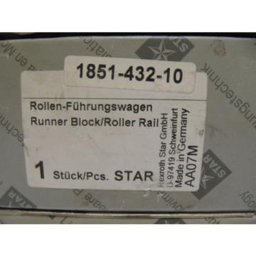 (NEW) Greece Canada Rexroth Star Runner Block / Roller Rail 1851-432-10