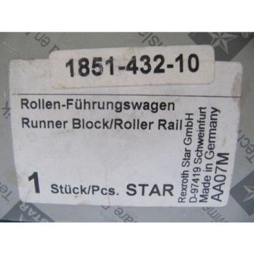 (NEW) France Mexico Rexroth Star Runner Block / Roller Rail 1851-432-10