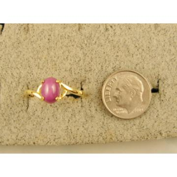 VINTAGE LINDE LINDY PINK STAR RUBY CREATED SAPPHIRE RING SOLID 14K YELLOW GOLD