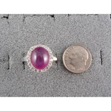PMP LINDE LINDY TRANSPARENT RED STAR SAPPHIRE CREATED HALO RING RD PLT .925 SS