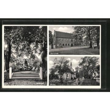 alte AK Gräfenhainichen, Gasthaus zur Linde, Ehrenmal & Kirche