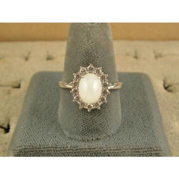 VINTAGE SIGNED LINDE LINDY SHELL WHITE STAR SAPPHIRE CREATED HALO RING RD PL SS