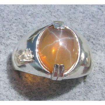 MEN'S 12x10mm 4+ CT TRNS YELLOW LINDE LINDY STAR SAPPHIRE CREATED SECOND RING SS