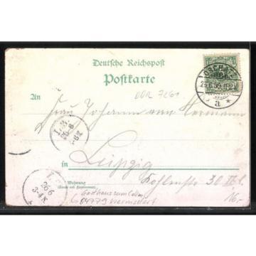 schöne Lithographie Collm, Gasthaus zum Collm, Linde 1899