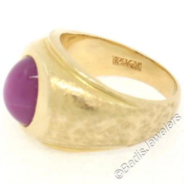 Men's Large Heavy Florentine Finished 14K Yellow Gold Bezel Linde Star Ruby Ring