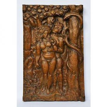Holz Relief Linde handgeschnitzt Adam Eva Paradies Schlange 50/60er, 70 x 44 cm