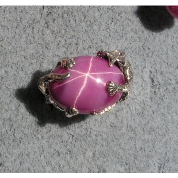 UNISEX 18X13MM 12+ CT LINDE LINDY PINK STAR SAPPHIRE CREATED RUBY SECOND RING SS