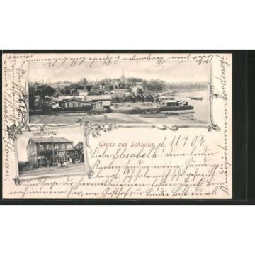 tolle AK Schlutup, Gasthof zur Linde, Blick zum Ort 1904