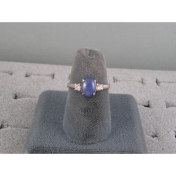 8X6MM LINDE LINDY CORNFLOWER BLUE STAR SAPPHIRE CREATED 2ND RD PLT .925 S/S RING
