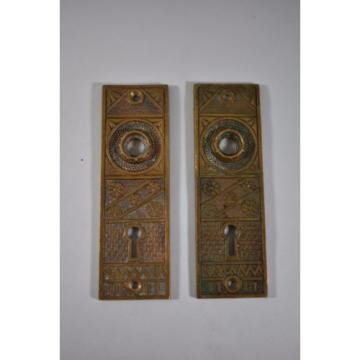 SET OF ANTIQUE BRASS F.C. LINDE & CO DOOR BACK PLATES CRESSKILL NJ