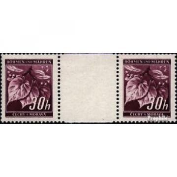 Bohemia et Moravia 24 paire avec interpanneau oblitéré 1939 linde branche