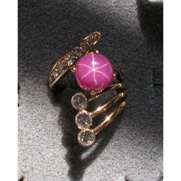 LINDE LINDY PINK STAR SAPPHIRE CREATED RUBY 2ND YELLOW GOLD ION PLT BRASS RING