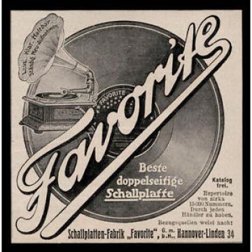 Alte Reklame 1910 Favorite Hannover-Linde Beste doppelseitige Schallplatte