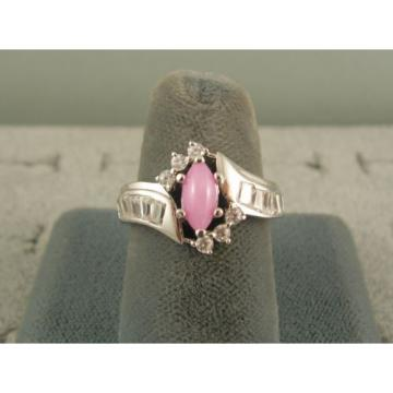 VINTAGE LINDE LINDY AZALEA PINK STAR SAPPHIRE CREATED HALO RING RD PLT .925 SS