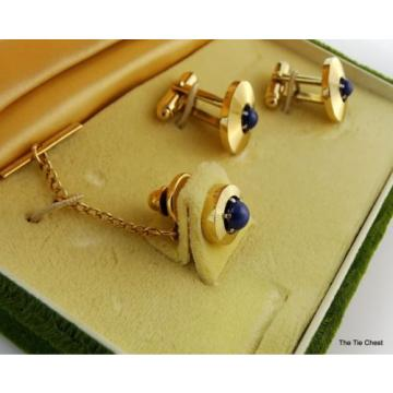 Vintage Cufflinks Set Genuine Linde Lindy Star Sapphires Anson
