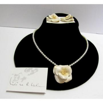 Vintage Linda Van Der Linde Clay Flower & Pearl Necklace & Clip-On Earrings Set
