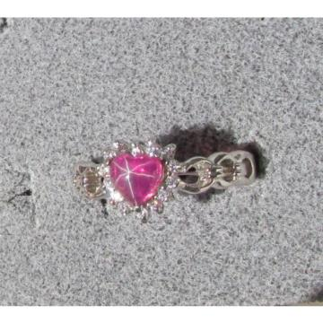 6MM HEART LINDE LINDY RED STAR RUBY CREATED SAPPHIRE 2ND RD PL HALO .925 SS RING