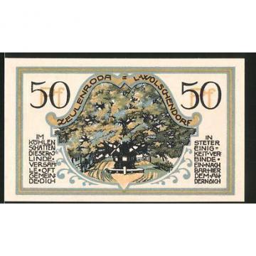 Notgeld Zeulenroda 1921, 50 Pfennig, Ortswappen, Linde