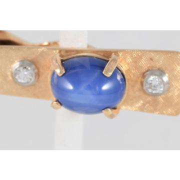 Vintage 14 Kt Yellow gold Tie Bar with Linde Star Sapphire and two diamonds
