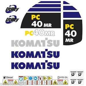 Komatsu PC40MR-2  Decals Stickers, repro Kit for Mini Excavator