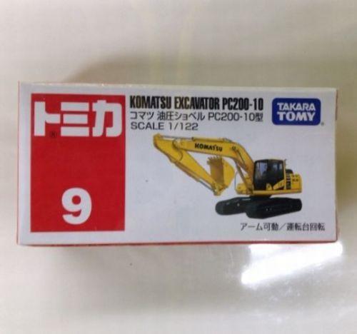 Tomica #9 Komatsu Excavator PC200-10 1/122 Tomy Diecast from Japan