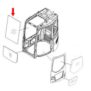 22B-54-17931 Front Upper Glass For Komatsu Excavator PC128US-2-EU PC128US-2-N
