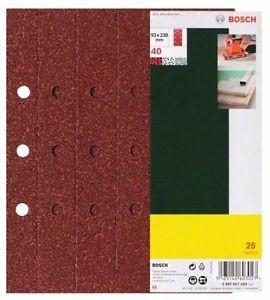 Bosch 2607017108 25 Fogli Abrasivi Orbitale, Grana 240, 93 x 230 mm, Fori B&D