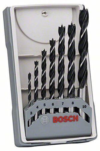 Bosch Wood Drill Bit Set 3/4/5/6/7/8/10 mm X-Pro Straight Shank Brad Point
