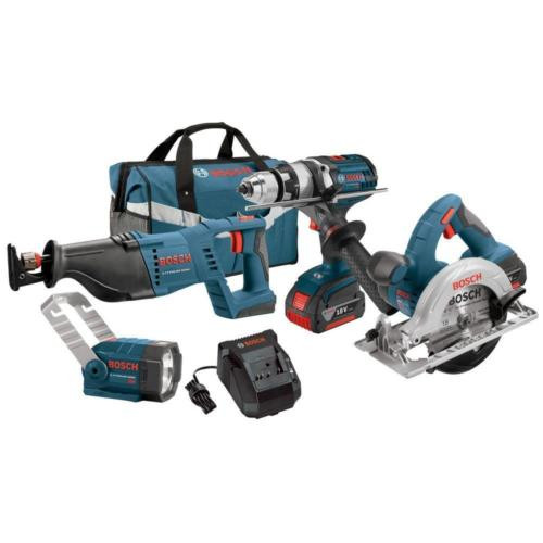 18 Volt Lithium-Ion Power Cordless Compact Light Drill Tools Combo Kit (4-Tool)