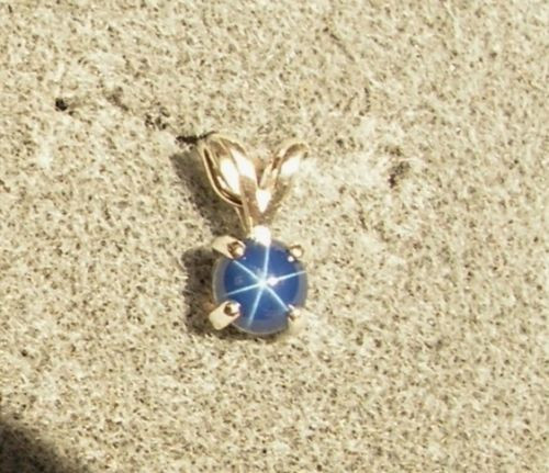 VINTAGE LINDE LINDY PETITE 5MM RD CF BLUE STAR SAPPHIRE CREATED PENDANT W/CHN SS
