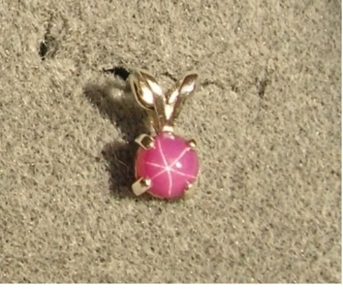 VINTAGE LINDE LINDY PETITE 5MM PINK STAR RUBY CREATED SAPPHIRE PENDANT N/CHN SS