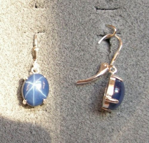 LINDE LINDY 10X8MM 5+ CTW CF BLUE STAR SAPPHIRE CREATED S/S LEVERBACK EARRINGS