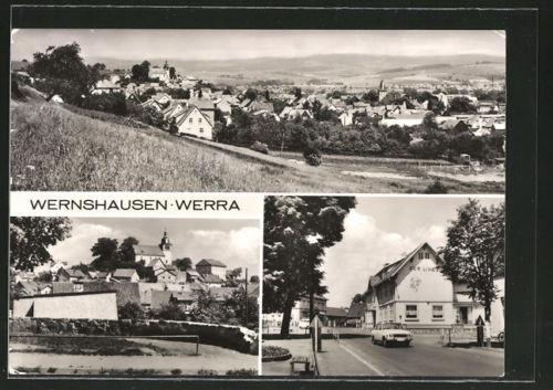 AK Wernshausen, Panoramaansicht, Blick nach der Kirche, Gasthaus Zur Linde