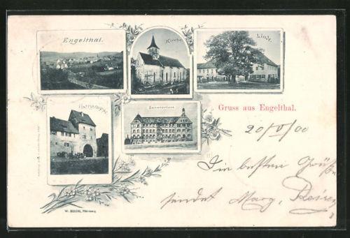 alte AK Engelthal, Gasthaus zur Linde, Kirche, Thorgruppe und Sanatorium 1900