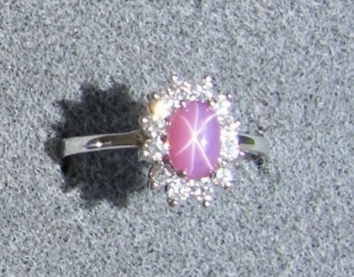 VINTAGE LINDE LINDY DUSKY ROSE STAR SAPPHIRE CREATED HALO RING RD PLT .925 SS