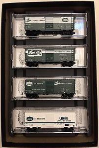 MTL N-Scale Linde Gas 40' Standard Boxcar 4 Car Runner Set Pt # 993 01 490