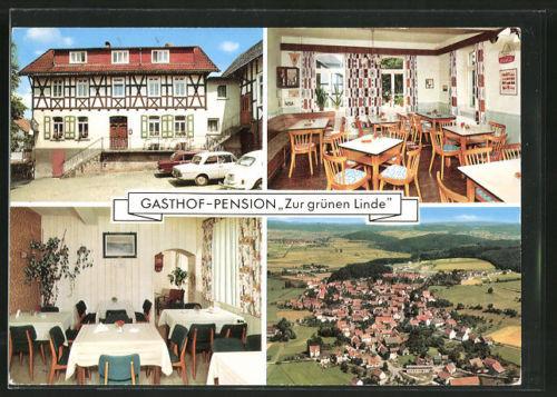 AK Caldern, Gasthaus & Pension Zur grünen Linde, Totalansicht aus der Vogelscha