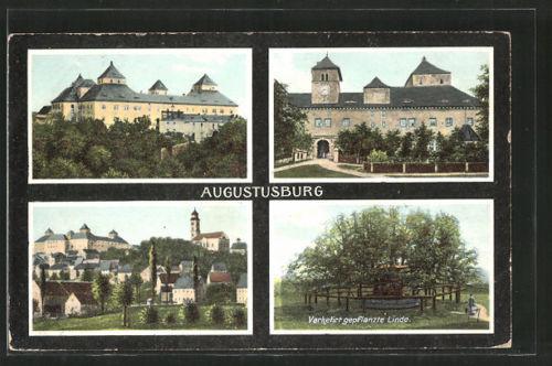tolle AK Augustusburg, Schloß, verkehrt gepflanzte Linde, Ortsansicht