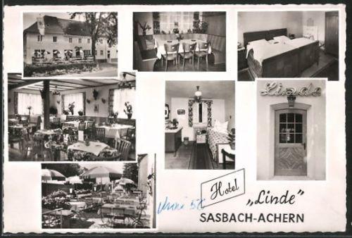 tolle AK Sasbach-Achern, Hotel Linde, Außenansicht u. Inneres, Bes. Fam. Jörend