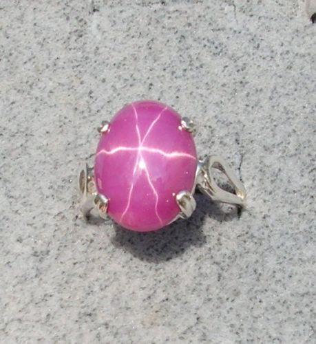 16X12MM 9+CT LINDE LINDY PINK STAR SAPPHIRE CREATED RUBY SECOND RING .925 SS