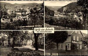 Ak Asbach Schmalkalden, Gasthaus zur Linde, Stadtpanorama, Allee - 1463762