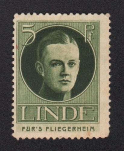 Germany Aviation Airman Pilot Home Linde 5 Pf Charity Poster Stamp Cinderella