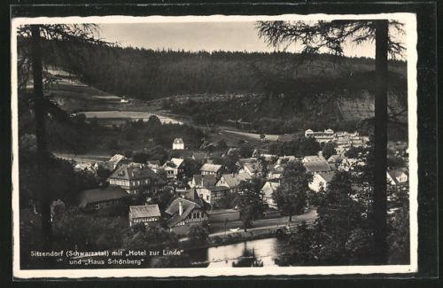 schöne AK Sitzendorf, Gesamtansicht mit Hotel zur Linde und Haus Schönberg 1950