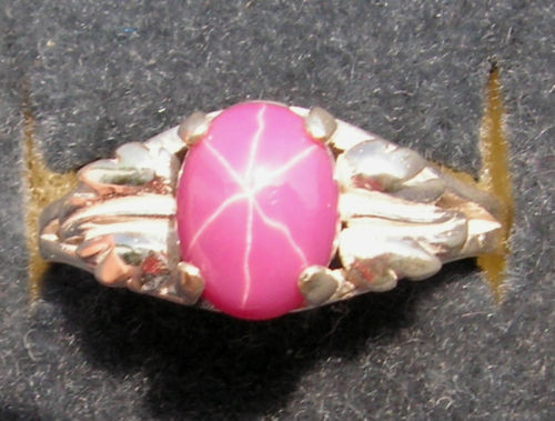 10x8mm 3+ CT LINDE LINDY PINK STAR SAPPHIRE CREATED RUBY 2ND LEAF RING .925 SS