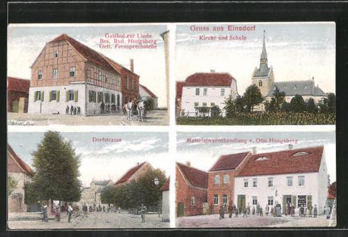 AK Einsdorf, Gasthof zur Linde, Kirche, Schule & Materialwarenhandlung v. Otto